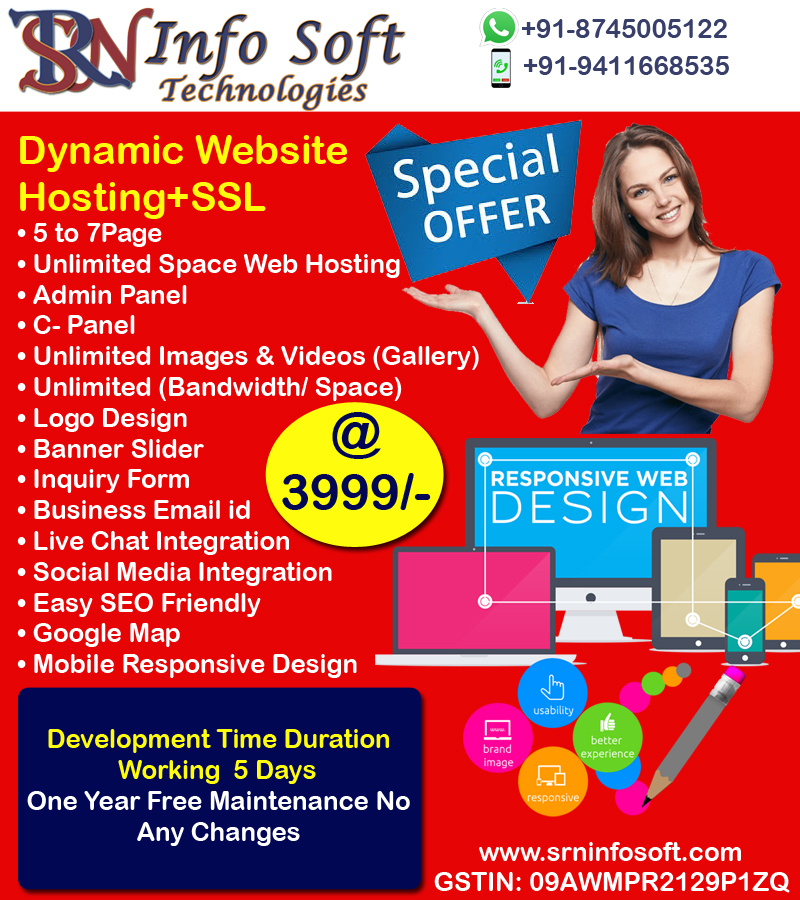 We are giving you a very cheap amount of Website Development Just Rs.3999. Offer valid for a limited time only. We Provide Services Dynamic Website Development